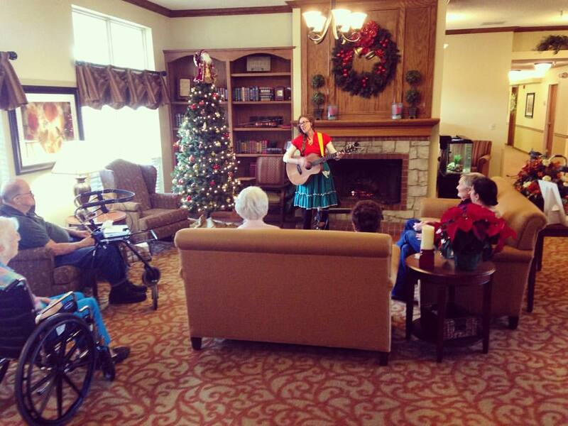 Casey & Minna, Senior Living Music, Oklahoma City, Familiar Favorites, acoustic guitar, Minna Biggs, Christmas music, Holiday music