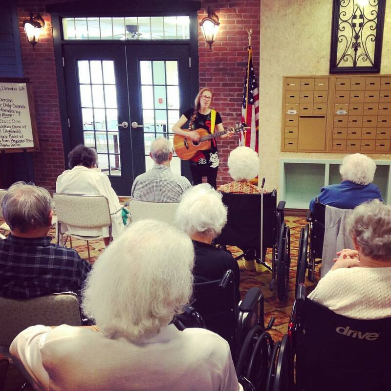 Casey & Minna, Senior Living Music, Oklahoma City, Familiar Favorites, acoustic guitar, Minna Biggs, House Concert, OKC, Rivendell Assisted Living