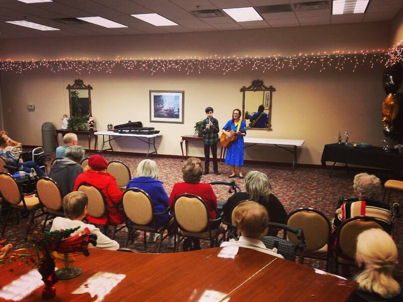 Casey & Minna, Senior Living Music, Oklahoma City, Familiar Favorites, acoustic guitar, Minna Biggs, House Concert, OKC, Lionwood Assisted Living