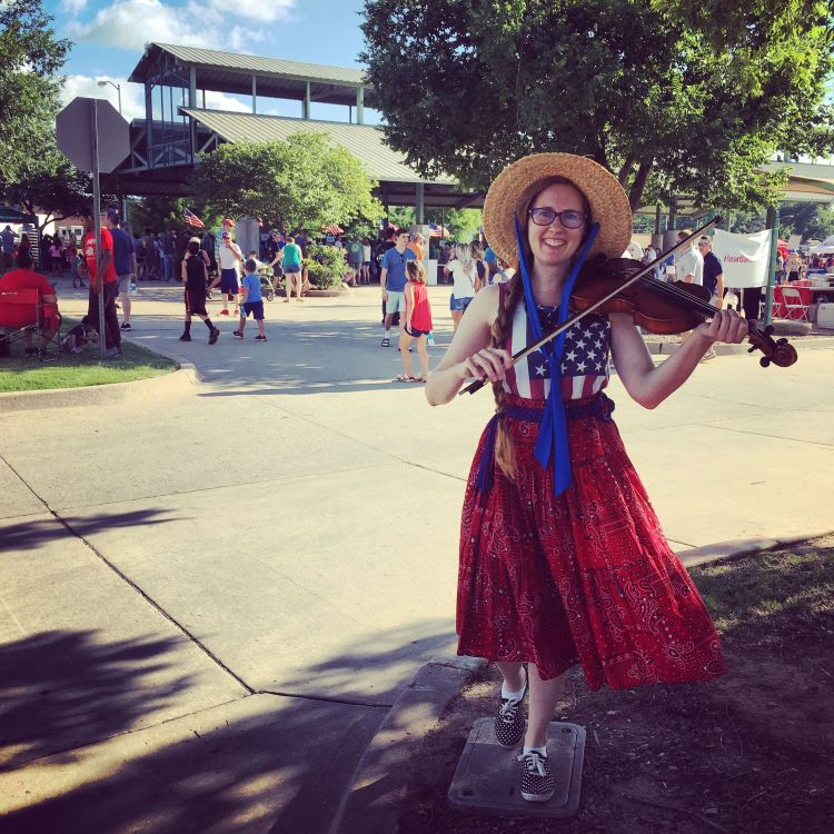 Minna Biggs plays fiddle at 2019 Liberty Fest in Edmond Oklahoma.