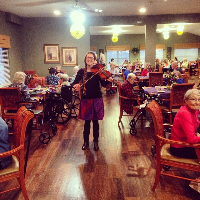 Casey & Minna, Senior Living Music, Oklahoma City, Familiar Favorites, acoustic guitar, Minna Biggs, House Concert, OKC, Assisted living