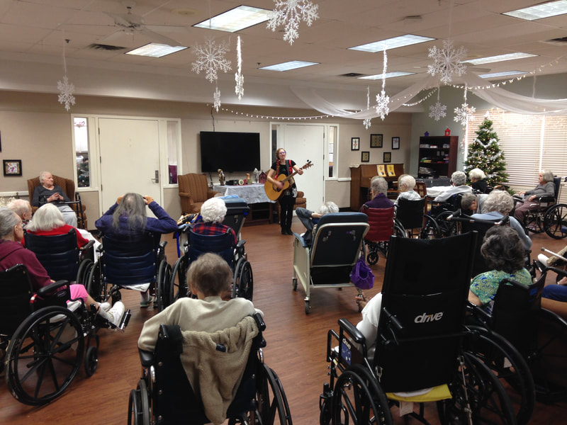 Casey & Minna, Senior Living Music, Oklahoma City, Familiar Favorites, acoustic guitar, Minna Biggs, House Concert, OKC, Live Holiday Music