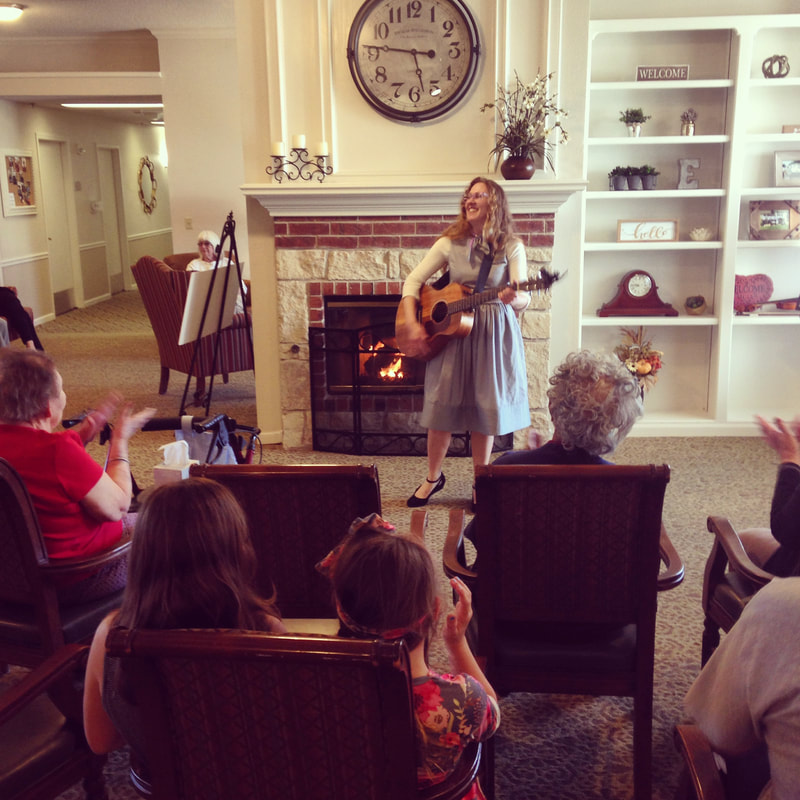 Casey & Minna, Senior Living Music, Oklahoma City, Familiar Favorites, acoustic guitar, Minna Biggs, House Concert, OKC, Dorset Place Assisted Living, Family Night