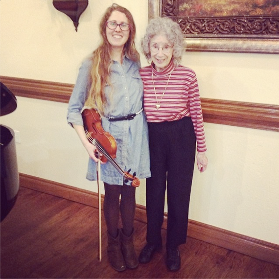Casey & Minna, Senior Living Music, Oklahoma City, Familiar Favorites, acoustic guitar, Minna Biggs, House Concert, OKC, Fiddle, Teal Ridge Assisted Living